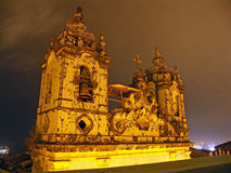 Salvador Church by Night. Portuguese Colonial Church Towers by Night, Salvador, Bahia, Brazil Stock Images