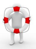 Salvador com anel lifebuoy no fundo branco Fotografia de Stock Royalty Free