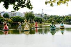 Salvador da Bahia. Salvador, Brazil - June 6, Candomble statues in the middle of the Dique do Tororo lake Royalty Free Stock Photo