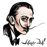 Salvador Dali akwareli portret royalty ilustracja