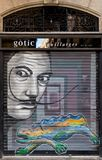 Salvador Dali and Gaudi lizard, street art, highlights of Barcelona. BARCELONA, SPAIN, March, 2018: the famous surrealist painter Salvador Dali, as depicted on a Royalty Free Stock Photos