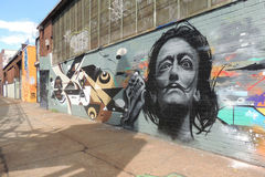 Salvador Dali Graffiti. A graffiti of Spanish painter Salvador Dali in Queens, New York stock photo