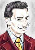 Salvador Dali stående royaltyfri illustrationer