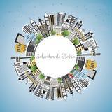 Salvador de Bahia City Skyline avec des bâtiments de couleur, ciel bleu illustration libre de droits