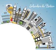 Salvador de Bahia City Skyline avec des bâtiments de couleur, ciel bleu illustration stock