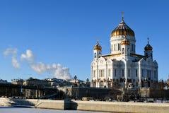 Salvador de Cristo del templo en Moscú durante invierno Fotografía de archivo