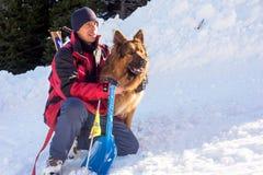 Salvador e seu cão do serviço Imagem de Stock Royalty Free