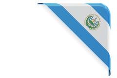 Salvador flag corner, button, label. 3D rendering Royalty Free Stock Photos