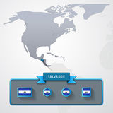 Salvador info card. Salvador on the map of North America with flags Royalty Free Stock Photos