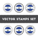 Salvadoran flag rubber stamps set. Stock Photos