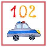 Salvadores de las historietas de la acuarela Dibujo de los servicios de rescate para entrenar, tarjetas, escuela, guardería, libr stock de ilustración