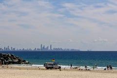 Salvadores en la playa Imágenes de archivo libres de regalías