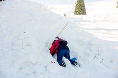 Salvadores no serviço de salvamento da montanha Foto de Stock Royalty Free