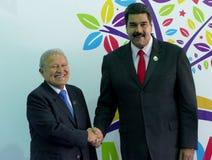 Salvadorianischer Präsident Salvador Sanchez Ceren und venezolanischer Präsident Nicolas Maduro Lizenzfreie Stockfotos
