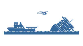 Salvage operation. At sea. Vector illustration Stock Images
