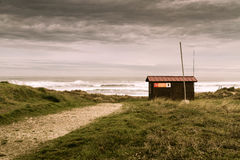 Salvage stand. Rescue house on Xago beach Royalty Free Stock Photography