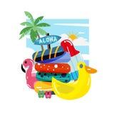 Salvagente Colourful alla spiaggia - illustrazione di vettore illustrazione di stock
