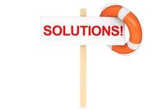 Salvagente con il segno delle soluzioni Immagini Stock