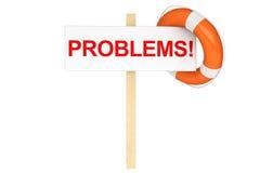 Salvagente con il segno di problemi Immagini Stock