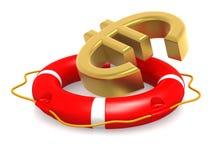 Salvagente con l'euro segno Fotografie Stock Libere da Diritti