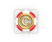 Salvagente e simbolo del copyright. Fotografie Stock Libere da Diritti