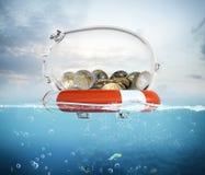 Salvagente per la rappresentazione dei soldi 3d Immagini Stock Libere da Diritti