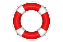 Salvagente rosso con la corda isolata Fotografia Stock