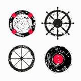 Salvagente, volante della nave, ruota, disco del vinile illustrazione vettoriale