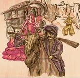 salvajes Una imagen dibujada mano del vector Línea ilustración del arte Foto de archivo libre de regalías