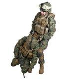 Salvamento do soldado ferido Fotos de Stock Royalty Free
