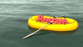 Salvamento vermelho da palavra no barco de borracha amarelo no oceano Fotografia de Stock Royalty Free