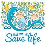 Salvar a água - vida das economias Gotas tiradas mão, ondas Fotos de Stock Royalty Free