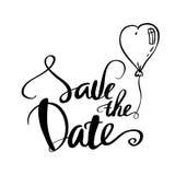 Salvar a caligrafia da data para o casamento ou ame o cartão ilustração royalty free