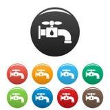 Salvar a cor do grupo dos ícones da torneira de água ilustração stock