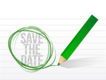 Salvar a data escrita em um papel do bloco de notas. Foto de Stock
