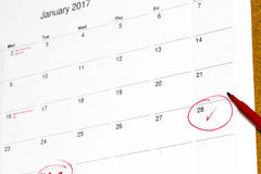 Salvar a data escrita no calendário - 28 de janeiro Imagem de Stock Royalty Free