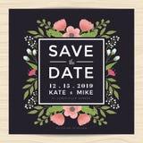 Salvar a data, molde do cartão do convite do casamento com estilo tirado mão do vintage da flor da grinalda Fundo floral da flor Foto de Stock Royalty Free
