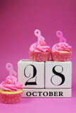 Salvar a data para o dia cor-de-rosa da fita - vertical. Fotos de Stock