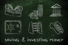 Salvar e investindo o dinheiro Fotografia de Stock Royalty Free