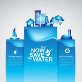 Salvar a ecologia do conceito do vetor da água Fotos de Stock