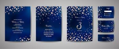 Salvar a ilustração do vetor da data com o céu estrelado da noite, estrela do banquete de casamento celestial ilustração royalty free