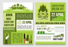 Salvar moldes do vetor da proteção da natureza e da terra Fotos de Stock Royalty Free