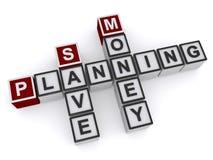 Salvar o bloco de palavra do planeamento do dinheiro ilustração do vetor