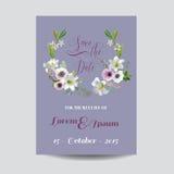Salvar o cartão de casamento da data Lírio e Anemone Flowers Fotos de Stock Royalty Free