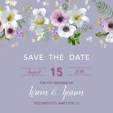Salvar o cartão de casamento da data Lírio e Anemone Flowers Fotografia de Stock Royalty Free