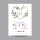 Salvar o cartão de casamento da data Lírio e Anemone Flowers Imagem de Stock