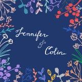 Salvar o cartão de data com rotulação tirada mão e detalhes florais delicados ilustração do vetor