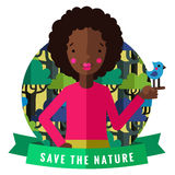 Salvar o cartão e o fundo do vetor da natureza com menina afro-americano, pássaro, fita verde ilustração stock