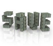 Salvar o dinheiro do disconto da venda das economias dos pacotes das pilhas do dinheiro da palavra Imagem de Stock Royalty Free