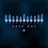 Salvar o gás, chama azul do gás, economia de energia Fotos de Stock
